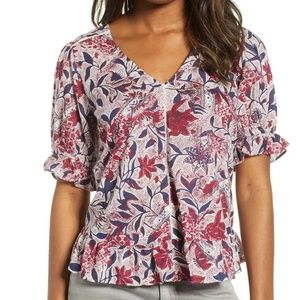 Lucky Brand Floral Printed Top Blouse Red XS